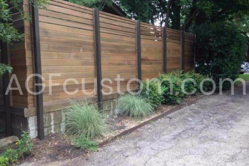 horizontal fence with metal