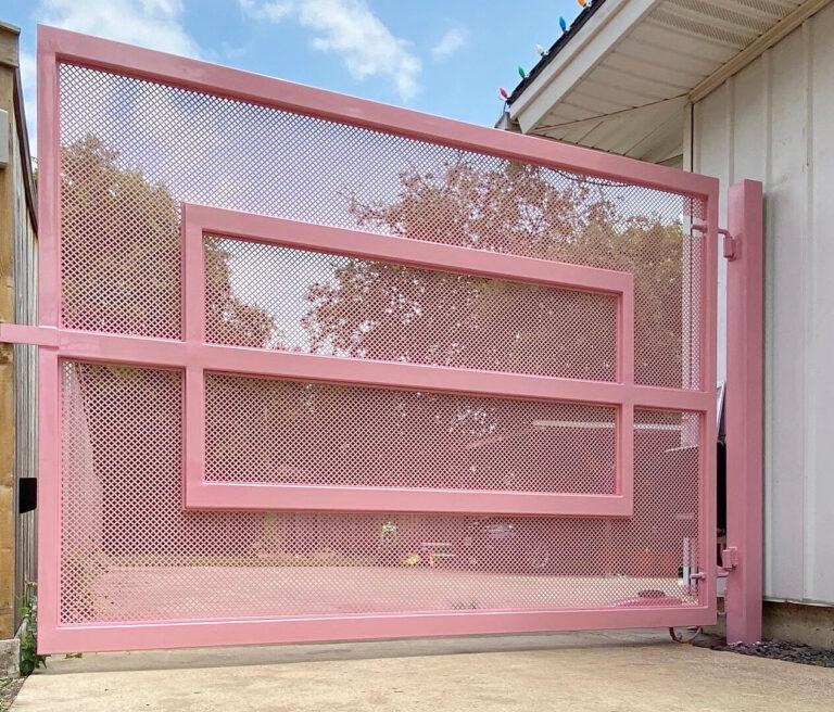 entryway pink metal gate