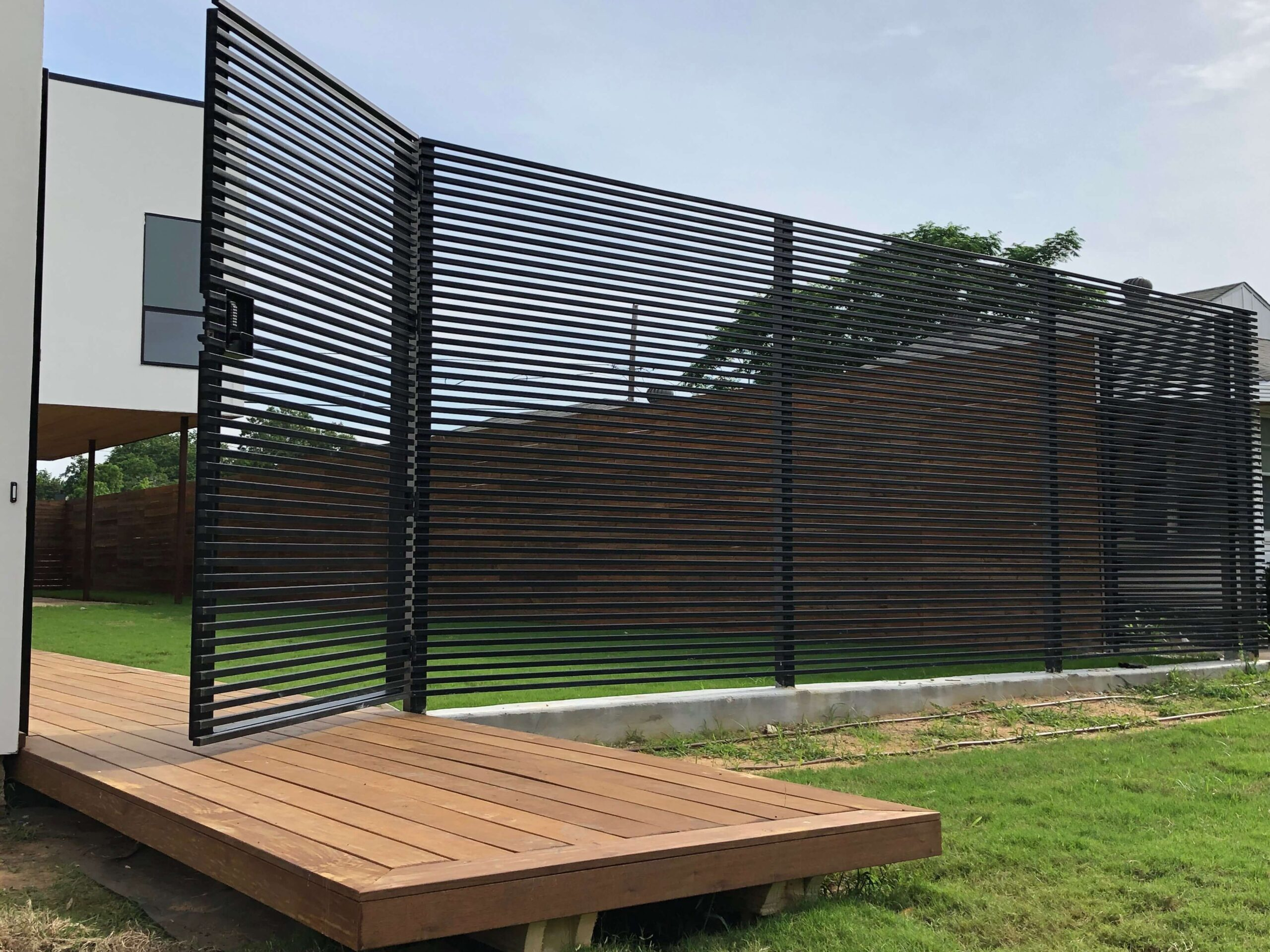 metal fence with entry gate