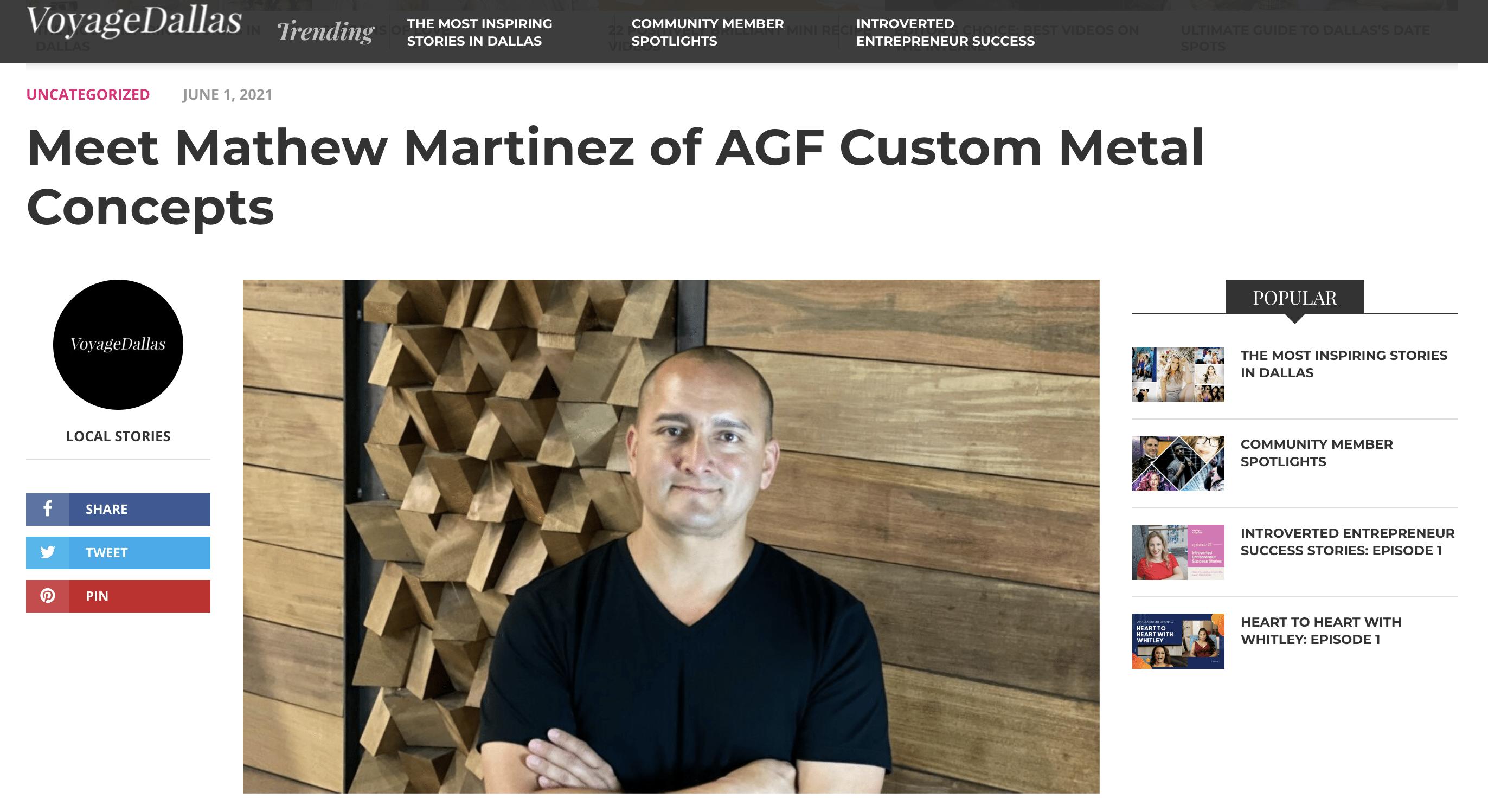 Matt Martinez featured in Voyage Dallas