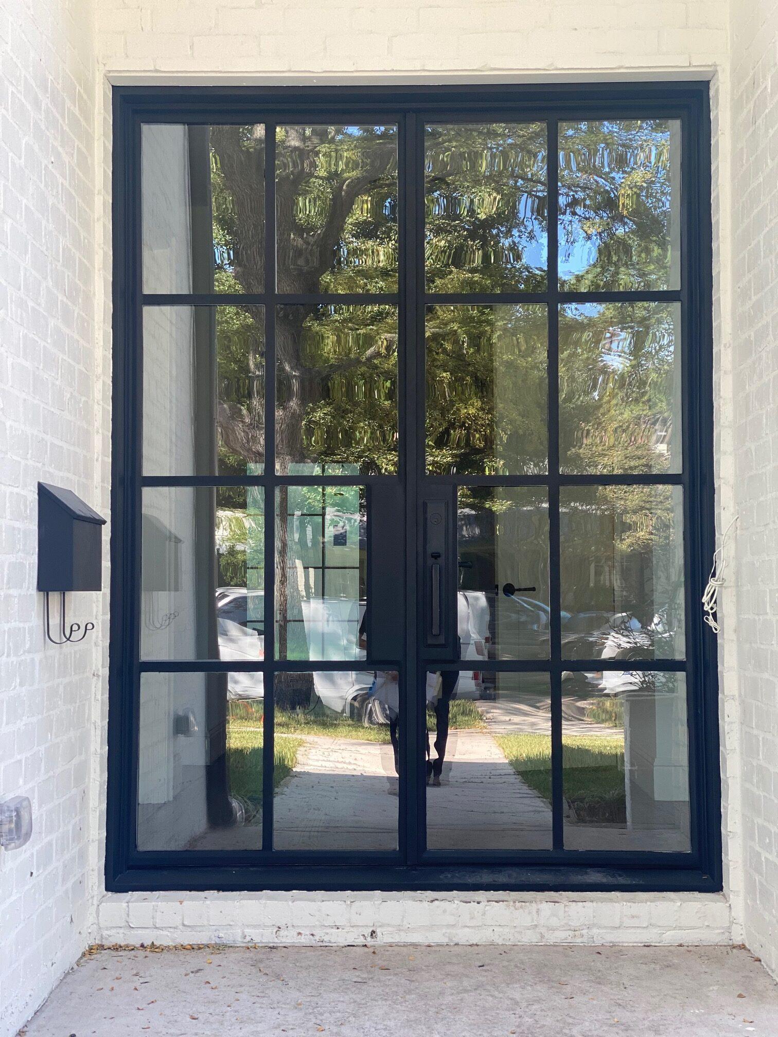 glass door with metal frame